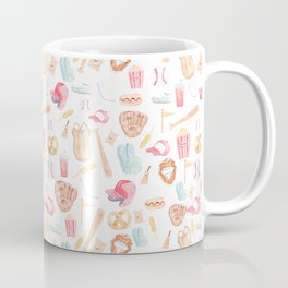 Watercolor Baseball Pattern Coffee Mug