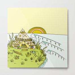 teepee living simply in paradise // retro surf art by surfy birdy Metal Print
