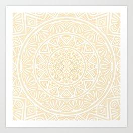 Pale Yellow Simple Simplistic Mandala Design Ethnic Tribal Pattern Art Print