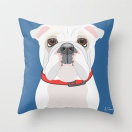 English Bulldog (WHT)  Art Poster Icon Series by Artist A.Ramos.Designed in Bold Colors Throw Pillow