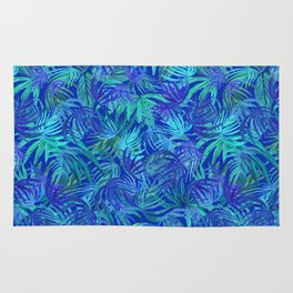 Palm watercolor tropical blue night Rug