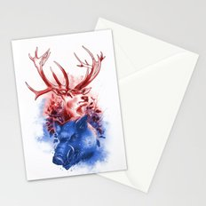 Red Stag and Blue Boar Stationery Cards