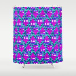 Purple and Turquoise Psychedelic Owl Pattern Shower Curtain