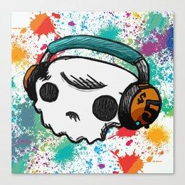 Skull headphones Pure Candy Canvas Print