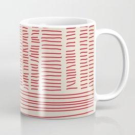 Digital Stitches detail 1 beige + red Coffee Mug