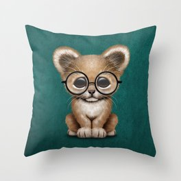 Cute Baby Lion Cub Wearing Glasses on Blue Throw Pillow