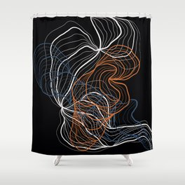 Gray and copper / digital abstract drawing Shower Curtain