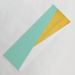 Gold & Aqua Blue Geometry Yoga Mat
