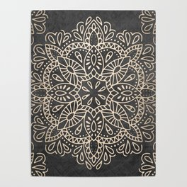 Mandala White Gold on Dark Gray Poster