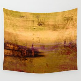golden abstract landscape Wall Tapestry