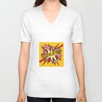 comic book V-neck T-shirts featuring Comic Book THANKS! by The Image Zone