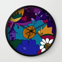 """""""Before the Celebration"""" bold, colorful doodle art Wall Clock"""
