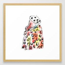 Girl in a Leopard Coat Framed Art Print