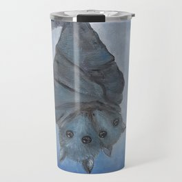 bat mom with baby in the blue full moon light Travel Mug