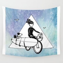 """ Dream. Bike. Surf "" Wall Tapestry"