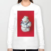 snowman Long Sleeve T-shirts featuring Snowman  by Svetlana Korneliuk