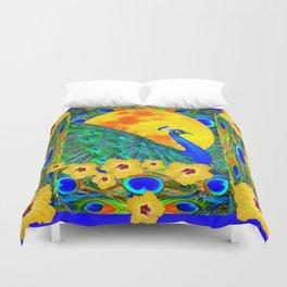 YELLOW HIBISCUS FULL GOLDEN MOON  BLUE PEACOCKS Duvet Cover