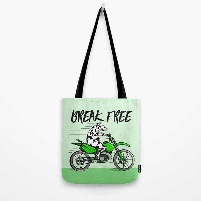 Cow riding a motorbike Tote Bag