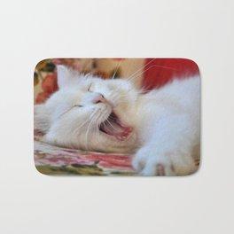 Cute Portrait Of A Yawning Van Cat Bath Mat