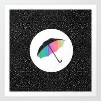 umbrella Art Prints featuring umbrella by Luna Portnoi