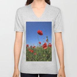 poppy flower no15 Unisex V-Neck
