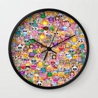 emoji Wall Clocks featuring emoji / emoticons by Marta Olga Klara