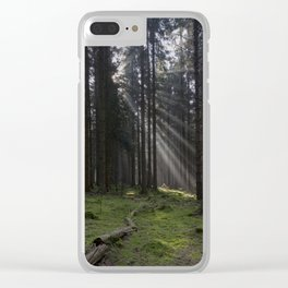 Spruce Wood Sunrays Clear iPhone Case