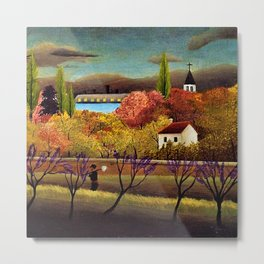Classical Masterpiece 'Landscape with Farmer' by Henri Rousseau Metal Print