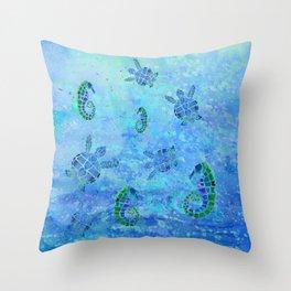 Sea Turtle Batik Throw Pillow