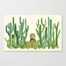 In my happy place - hedgehog meditating in cactus jungle Canvas Print