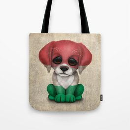Cute Puppy Dog with flag of Hungary Tote Bag