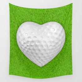 Golf ball heart / 3D render of heart shaped golf ball Wall Tapestry
