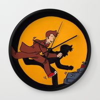 tintin Wall Clocks featuring Les Aventures du Docteur by Meghan M Hawkes