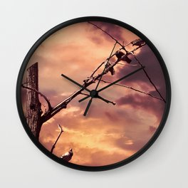 Picturly Purple Sky Leafless Branches and Birds Wall Clock