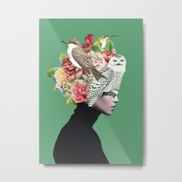 Lady with Birds(portrait) 2 Metal Print