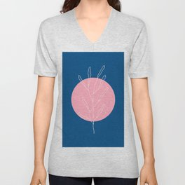 Abstract Pink Moon Unisex V-Neck