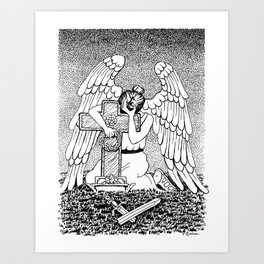 Weeping Angel at Grave Black And White Ink Drawing Art Print