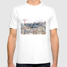 Roofs of Paris White Mens Fitted Tee MEDIUM