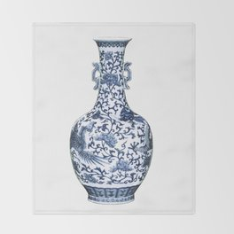 Blue & White Chinoiserie Porcelain Floral Vase with Flying Phoenix Throw Blanket