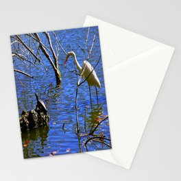 Egret and Turtle: Opposites Attract (Chicago North Pond Collection) Stationery Cards