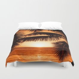 Perfect Palm Sunset (Color) Duvet Cover