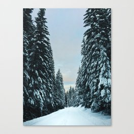 Snow Covered Roads Canvas Print