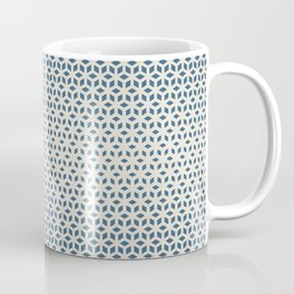 Blue & Linen Off White Gradient Tessellation Cubism Pattern Inspired by Chinese Porcelain PPG1160-6 Coffee Mug