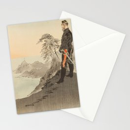 Ogata Gekko - Picture of Officers and Men Worshipping the Rising Sun near Port Arthur (1894) Stationery Cards