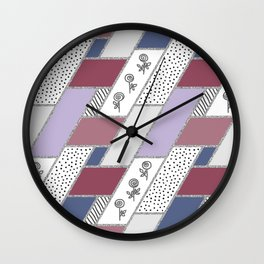 Abstract hand drawn geometric pattern with glitter pink and blue Wall Clock
