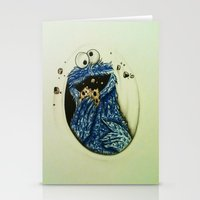 cookie monster Stationery Cards featuring Cookie Monster  by Jay Dee Art
