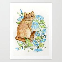 Morning Glory Kitty Art Print