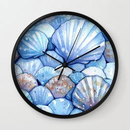 Sea Shells Aqua Wall Clock