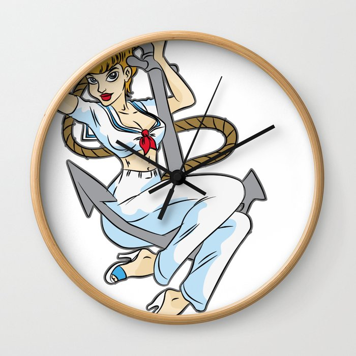 HEY SAILOR Sexy Girl navy Anchor Maritime Boat Wall Clock