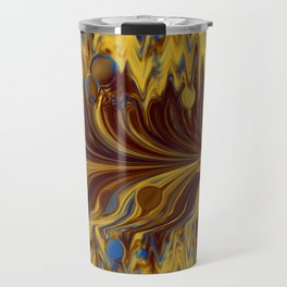 Electric-Blue, Brown, and Gold Abstract Travel Mug